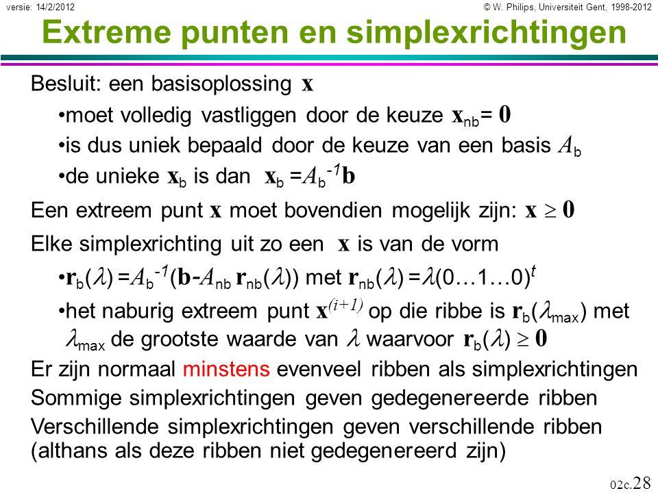 © W. Philips, Universiteit Gent, 1998-2012versie: 14/2/2012 02c. 28 Extreme punten en simplexrichtingen Besluit: een basisoplossing x moet volledig va