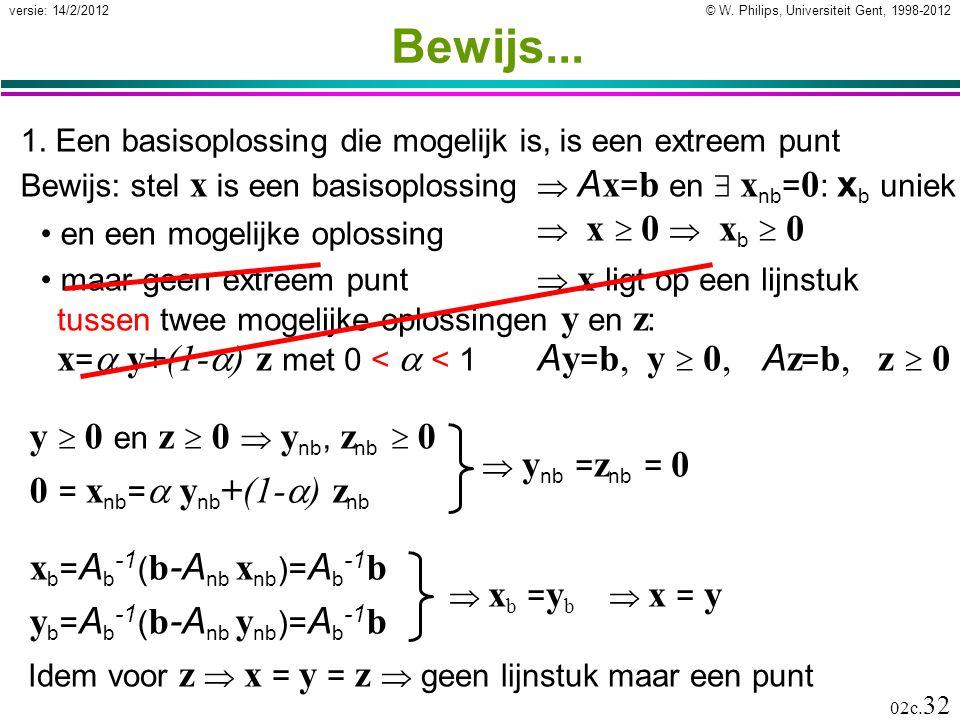 © W. Philips, Universiteit Gent, 1998-2012versie: 14/2/2012 02c. 32  A x = b en  x nb = 0 : x b uniek  x  0  x b  0  x ligt op een lijnstuk tus