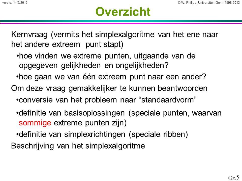 © W. Philips, Universiteit Gent, 1998-2012versie: 14/2/2012 02c. 5 Overzicht Kernvraag (vermits het simplexalgoritme van het ene naar het andere extre