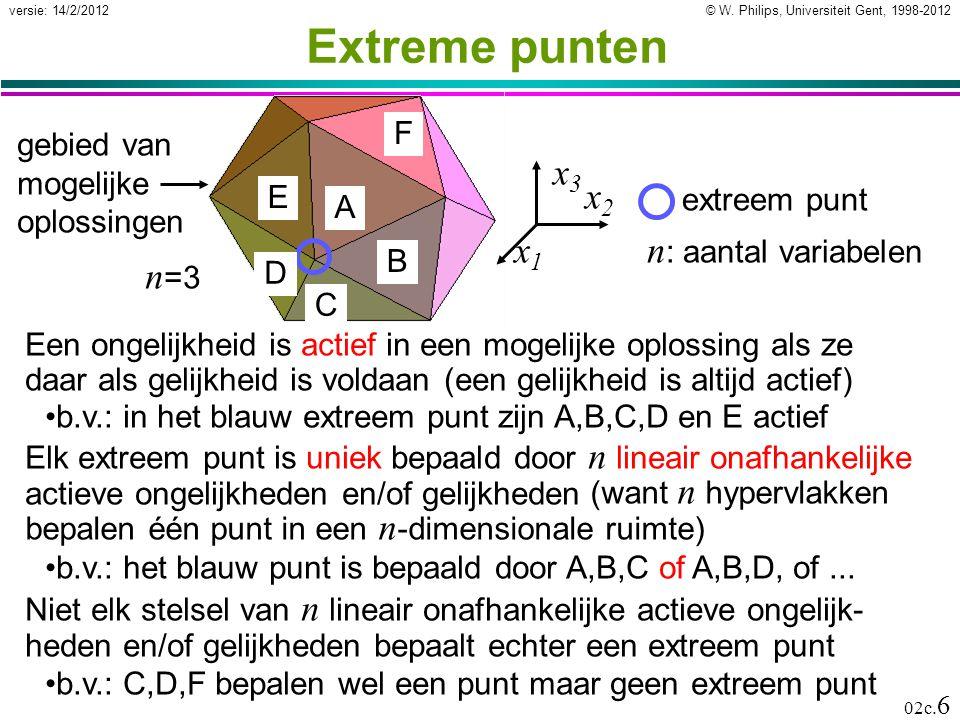 © W. Philips, Universiteit Gent, 1998-2012versie: 14/2/2012 02c. 6 Extreme punten Elk extreem punt is uniek bepaald door n lineair onafhankelijke acti