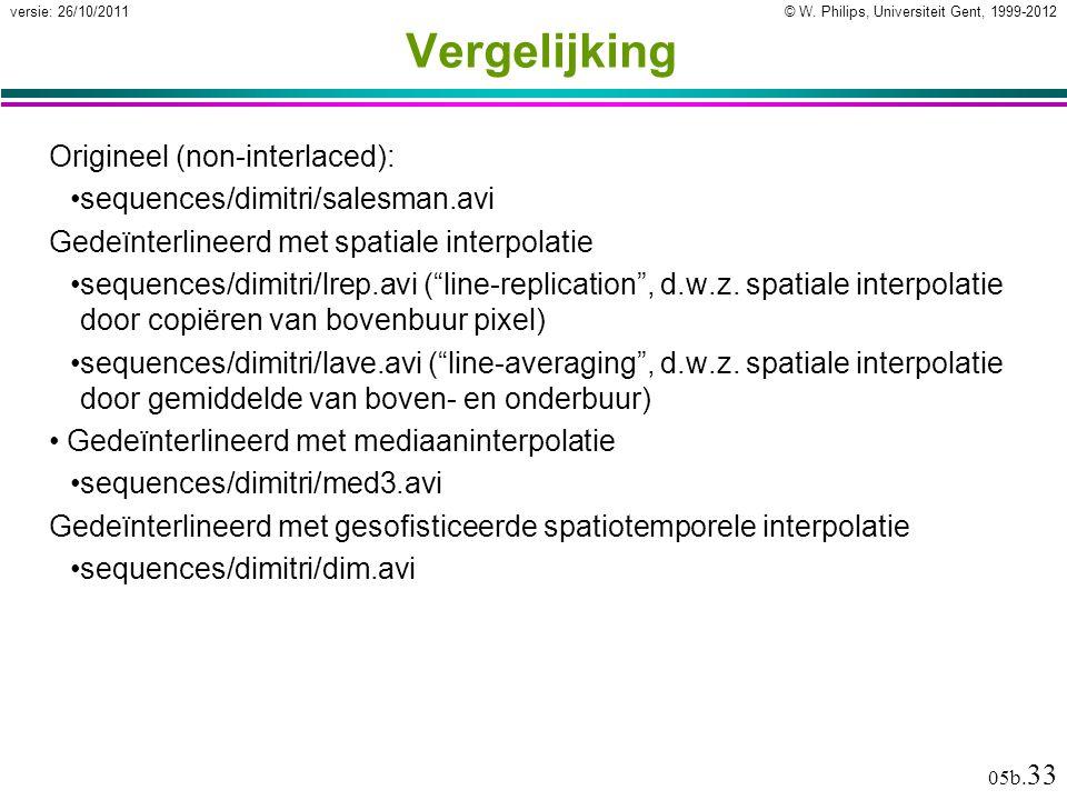 © W. Philips, Universiteit Gent, 1999-2012versie: 26/10/2011 05b.