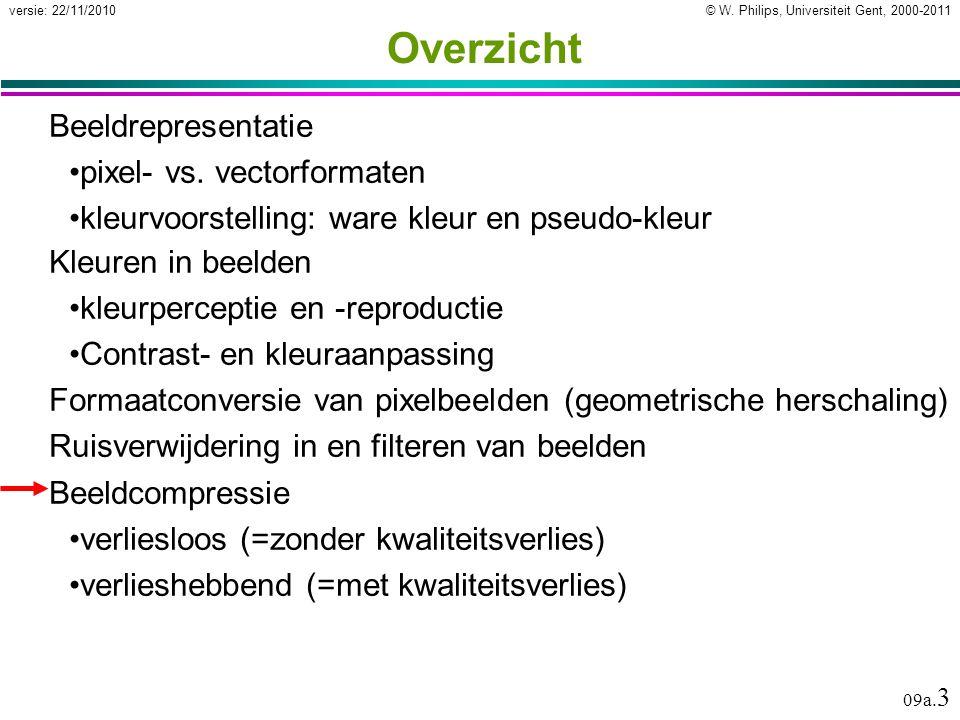© W. Philips, Universiteit Gent, 2000-2011versie: 22/11/2010 09a. 3 Overzicht Beeldrepresentatie pixel- vs. vectorformaten kleurvoorstelling: ware kle