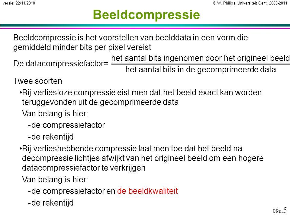 © W. Philips, Universiteit Gent, 2000-2011versie: 22/11/2010 09a. 5 Beeldcompressie Beeldcompressie is het voorstellen van beelddata in een vorm die g