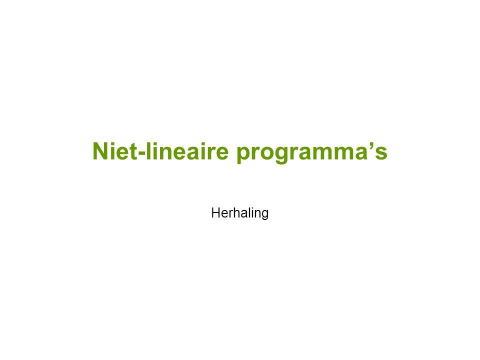 Niet-lineaire programma's Herhaling