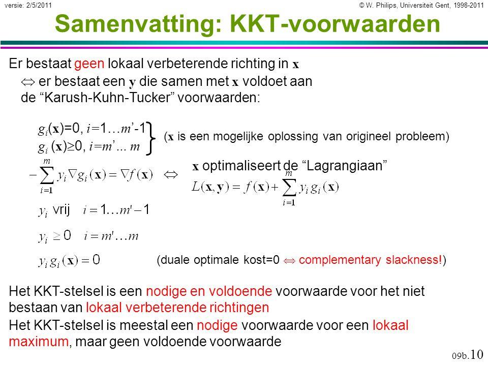 © W. Philips, Universiteit Gent, 1998-2011versie: 2/5/2011 09b. 10 Samenvatting: KKT-voorwaarden Er bestaat geen lokaal verbeterende richting in x  e