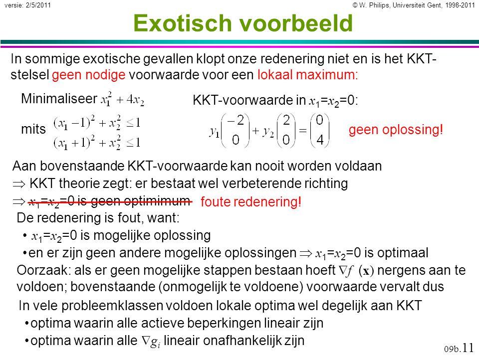 © W. Philips, Universiteit Gent, 1998-2011versie: 2/5/2011 09b. 11 Exotisch voorbeeld De redenering is fout, want: x 1 = x 2 =0 is mogelijke oplossing