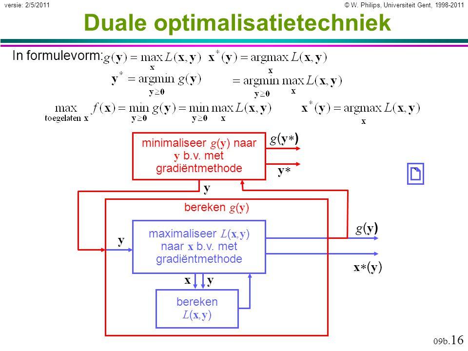 © W. Philips, Universiteit Gent, 1998-2011versie: 2/5/2011 09b. 16 Duale optimalisatietechniek In formulevorm: bereken L ( x,y ) x y maximaliseer L (