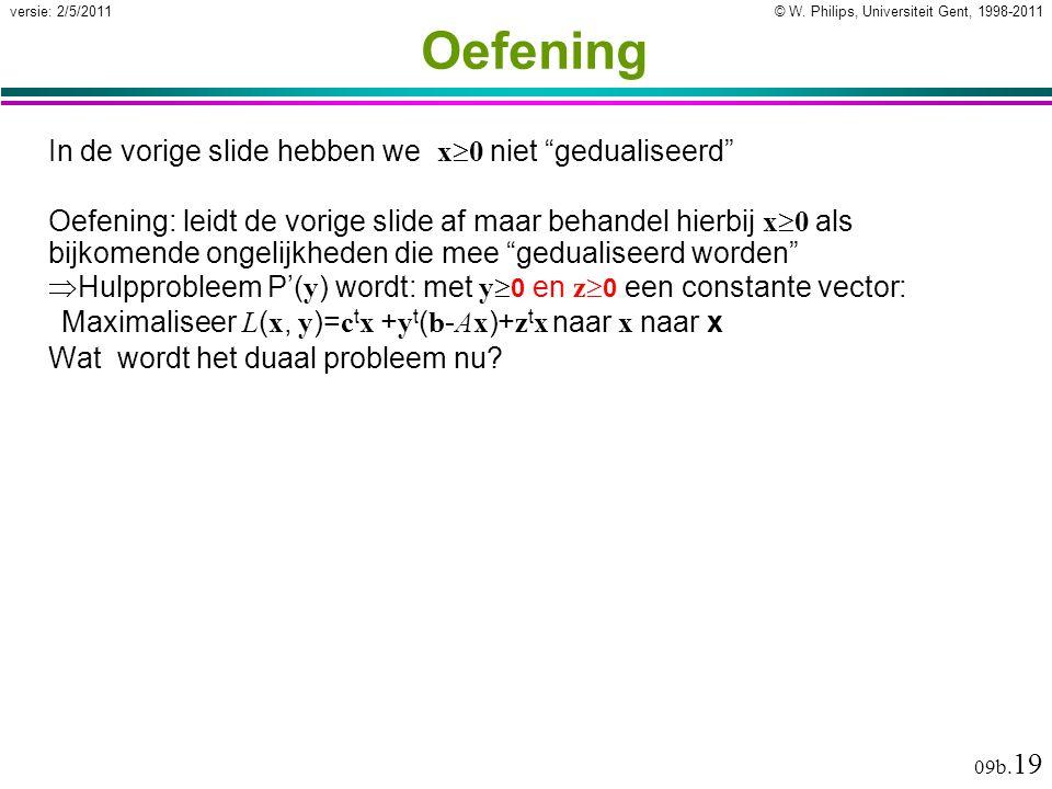 """© W. Philips, Universiteit Gent, 1998-2011versie: 2/5/2011 09b. 19 Oefening In de vorige slide hebben we x  0 niet """"gedualiseerd"""" Oefening: leidt de"""