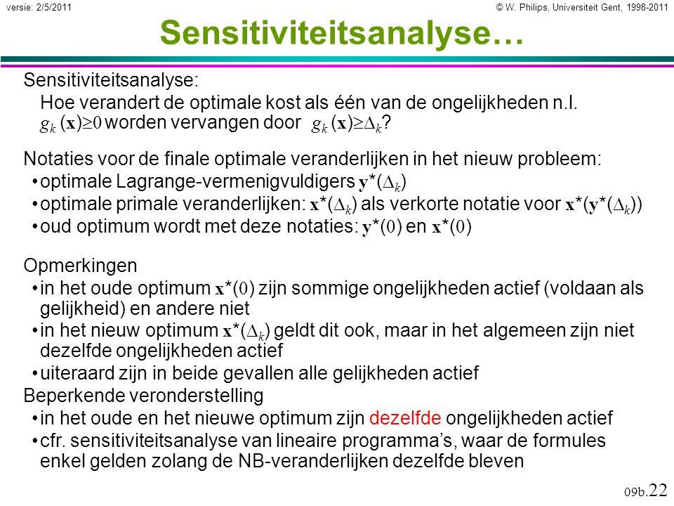 © W. Philips, Universiteit Gent, 1998-2011versie: 2/5/2011 09b. 22 Sensitiviteitsanalyse… Sensitiviteitsanalyse: Hoe verandert de optimale kost als éé