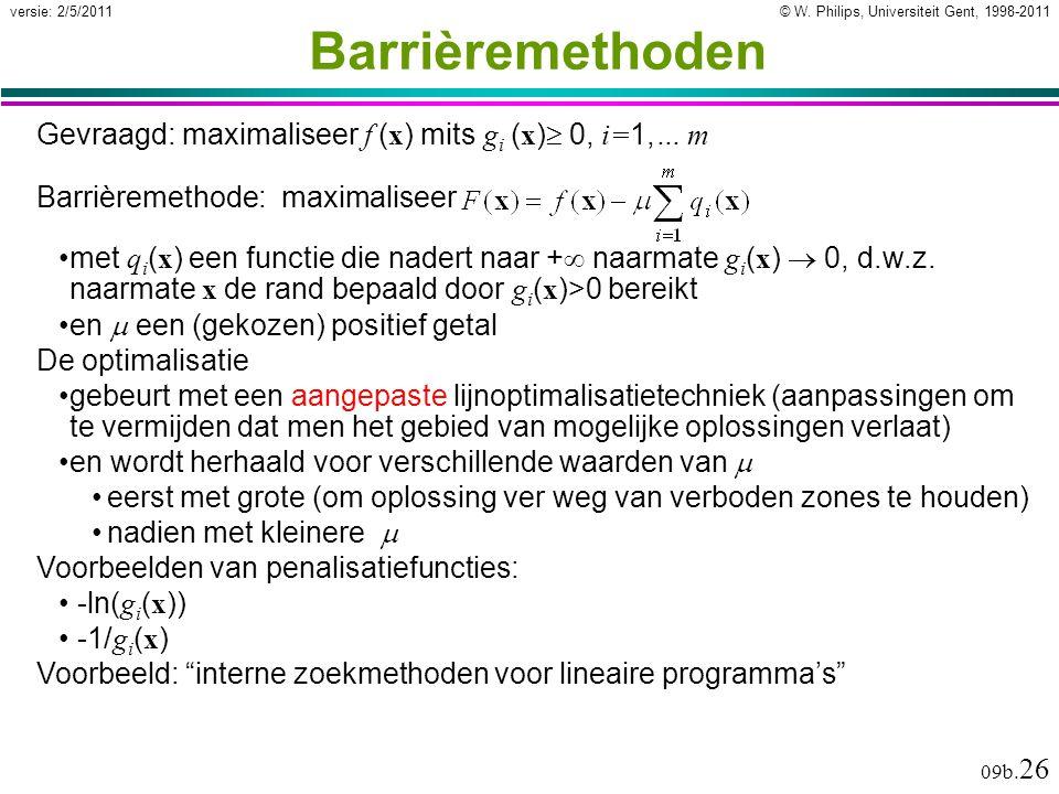 © W. Philips, Universiteit Gent, 1998-2011versie: 2/5/2011 09b. 26 Barrièremethoden Barrièremethode: maximaliseer met q i ( x ) een functie die nadert
