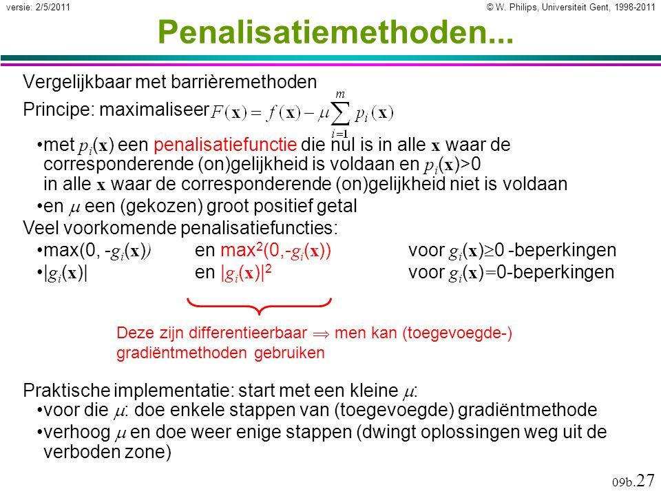 © W. Philips, Universiteit Gent, 1998-2011versie: 2/5/2011 09b. 27 Penalisatiemethoden... Vergelijkbaar met barrièremethoden Deze zijn differentieerba