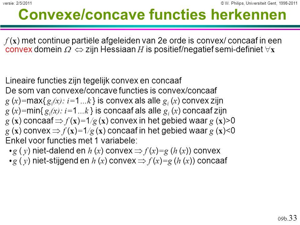 © W. Philips, Universiteit Gent, 1998-2011versie: 2/5/2011 09b. 33 Convexe/concave functies herkennen f ( x ) met continue partiële afgeleiden van 2e