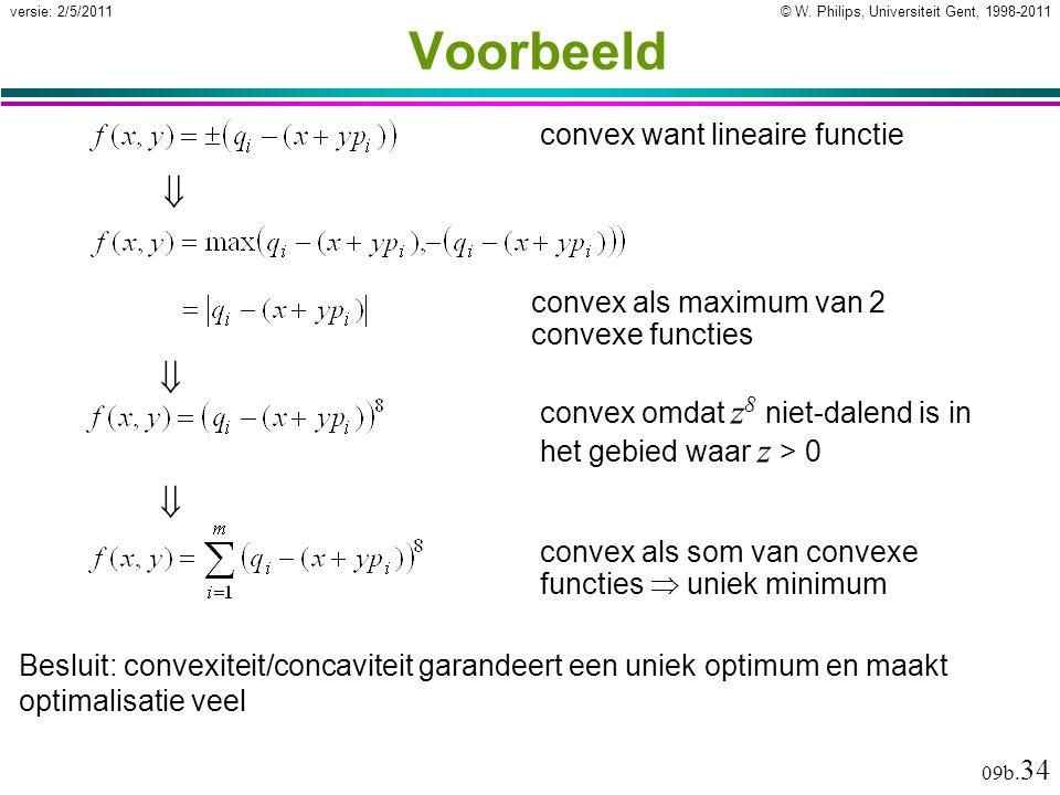 © W. Philips, Universiteit Gent, 1998-2011versie: 2/5/2011 09b. 34 Voorbeeld convex want lineaire functieconvex als maximum van 2 convexe functies  c