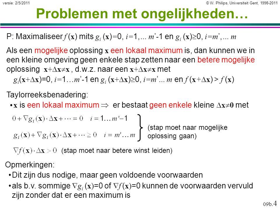 © W. Philips, Universiteit Gent, 1998-2011versie: 2/5/2011 09b. 4 P: Maximaliseer f ( x ) mits g i ( x ) = 0, i= 1, … m ' - 1 en g i ( x )  0, i=m ',