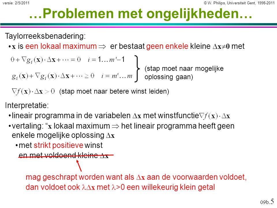 """© W. Philips, Universiteit Gent, 1998-2011versie: 2/5/2011 09b. 5 vertaling: """" x lokaal maximum  het lineair programma heeft geen enkele mogelijke op"""