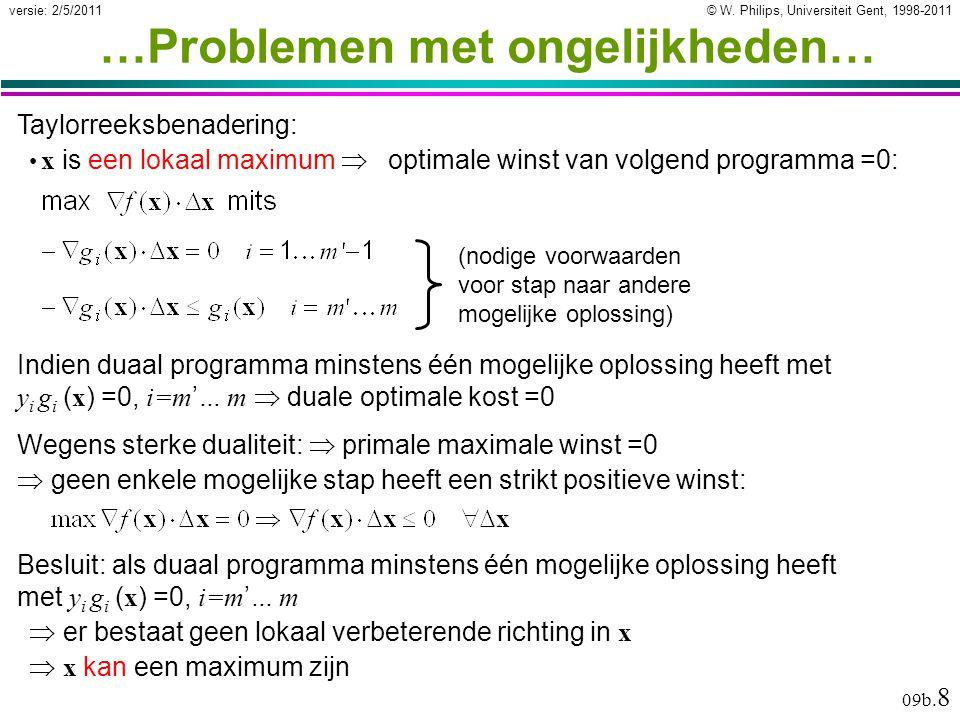© W. Philips, Universiteit Gent, 1998-2011versie: 2/5/2011 09b. 8 …Problemen met ongelijkheden… Indien duaal programma minstens één mogelijke oplossin