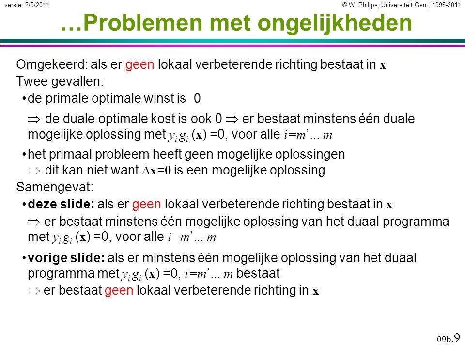 © W. Philips, Universiteit Gent, 1998-2011versie: 2/5/2011 09b. 9 …Problemen met ongelijkheden Omgekeerd: als er geen lokaal verbeterende richting bes