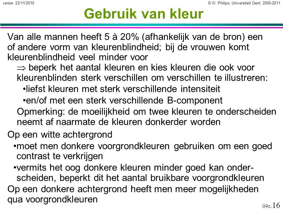 © W. Philips, Universiteit Gent, 2000-2011versie: 23/11/2010 09c. 16 Gebruik van kleur Van alle mannen heeft 5 à 20% (afhankelijk van de bron) een of