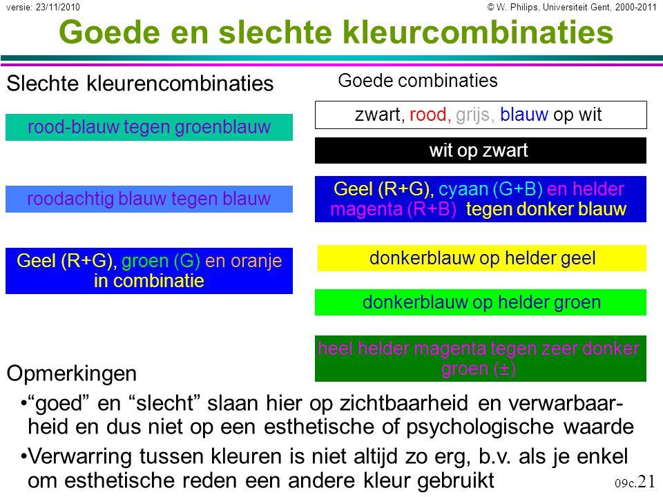 """© W. Philips, Universiteit Gent, 2000-2011versie: 23/11/2010 09c. 21 Goede en slechte kleurcombinaties Opmerkingen """"goed"""" en """"slecht"""" slaan hier op zi"""