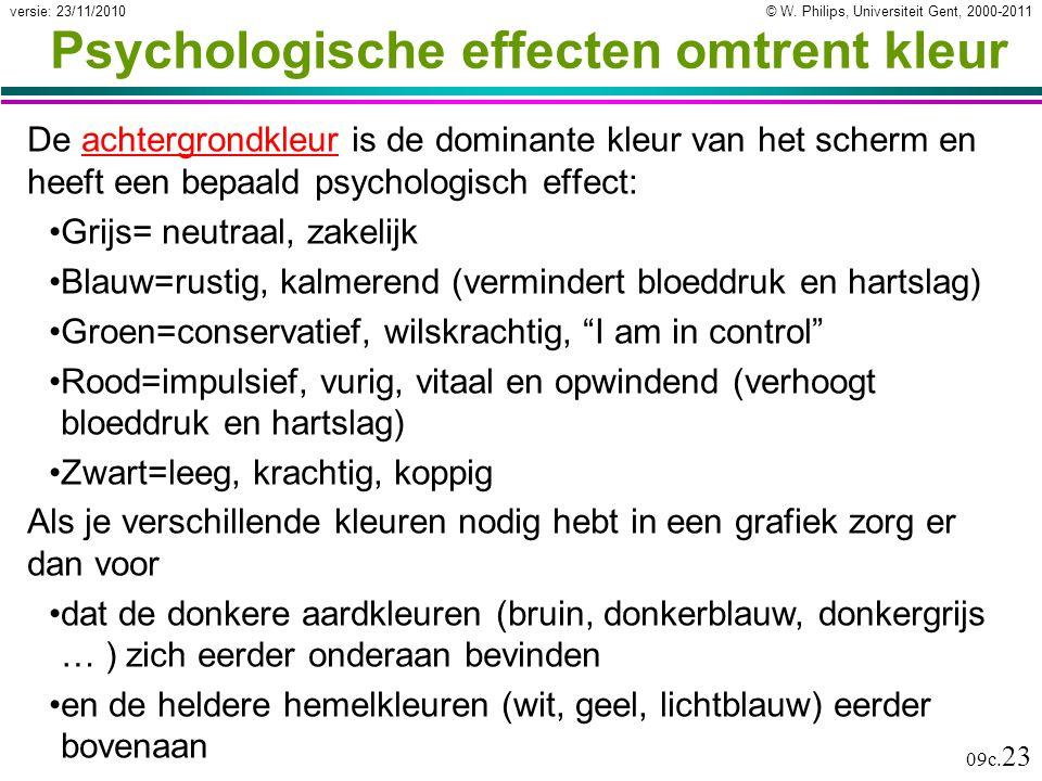 © W. Philips, Universiteit Gent, 2000-2011versie: 23/11/2010 09c. 23 Psychologische effecten omtrent kleur De achtergrondkleur is de dominante kleur v