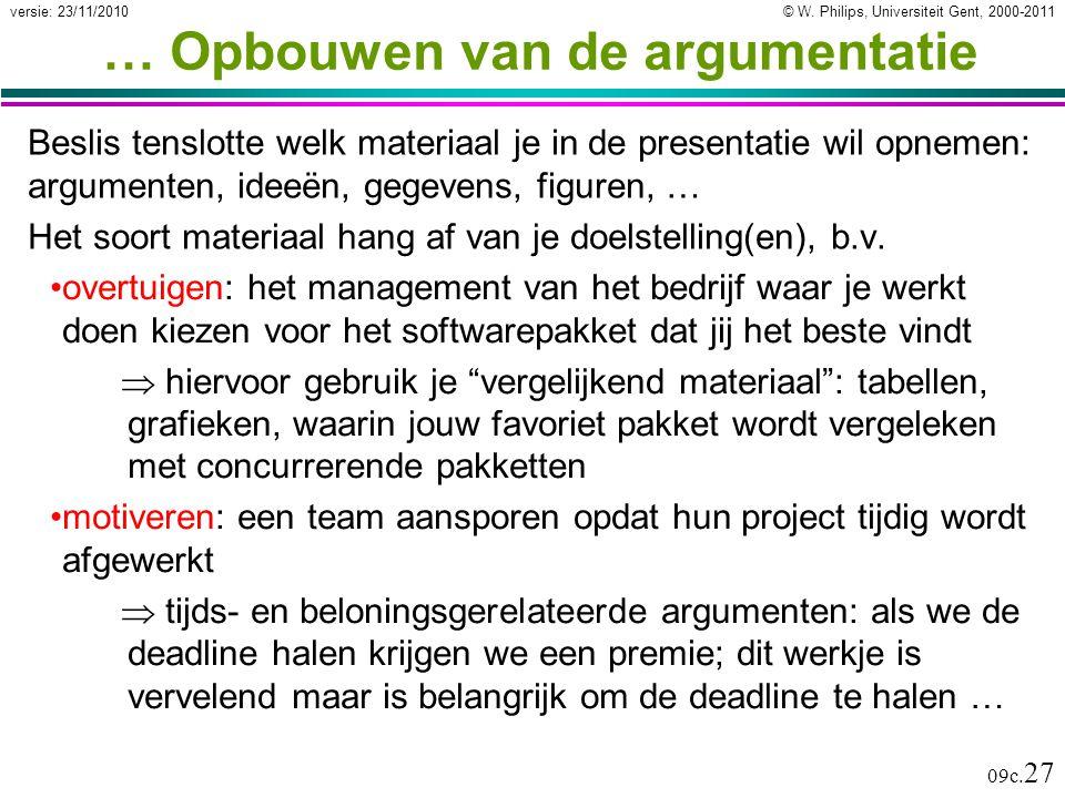 © W. Philips, Universiteit Gent, 2000-2011versie: 23/11/2010 09c. 27 … Opbouwen van de argumentatie Beslis tenslotte welk materiaal je in de presentat