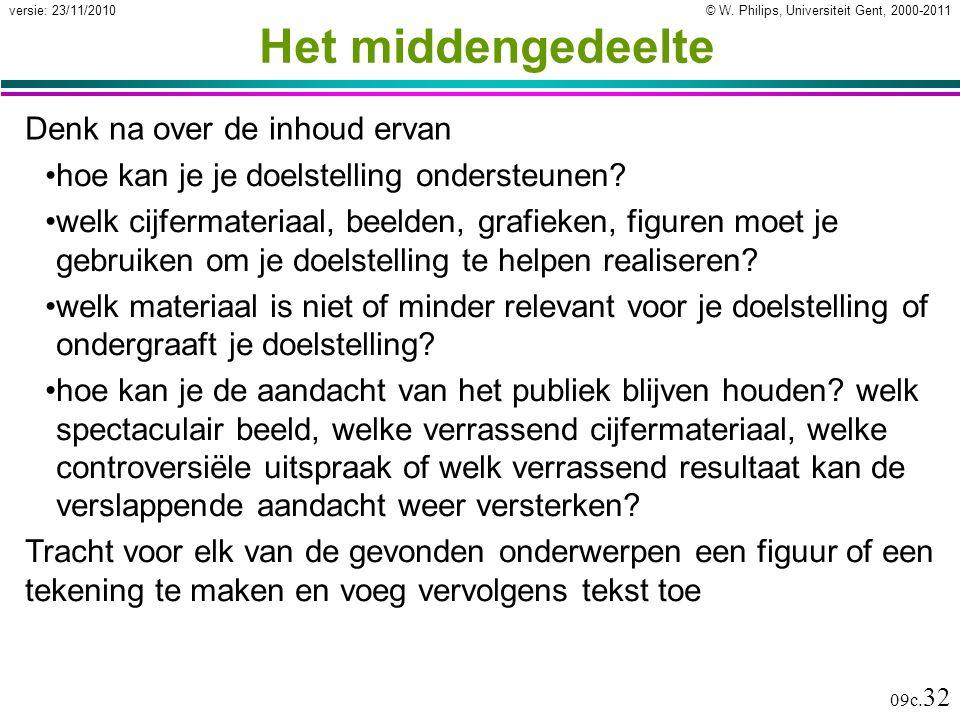 © W. Philips, Universiteit Gent, 2000-2011versie: 23/11/2010 09c. 32 Het middengedeelte Denk na over de inhoud ervan hoe kan je je doelstelling onders