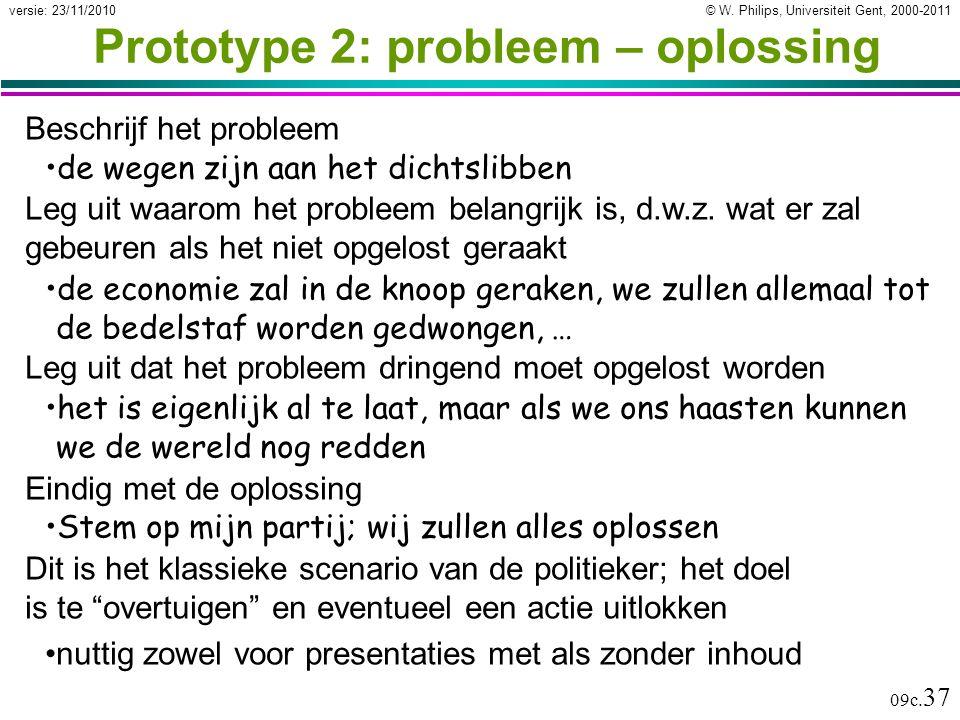 © W. Philips, Universiteit Gent, 2000-2011versie: 23/11/2010 09c. 37 Prototype 2: probleem – oplossing Beschrijf het probleem de wegen zijn aan het di