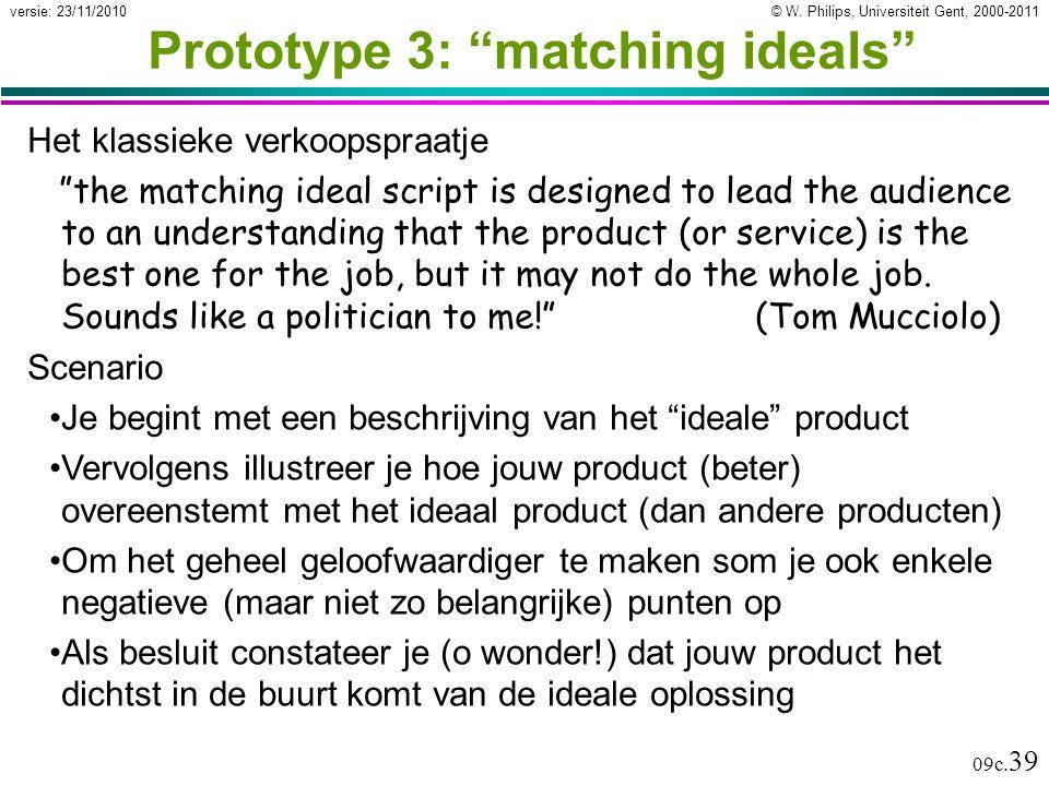 """© W. Philips, Universiteit Gent, 2000-2011versie: 23/11/2010 09c. 39 Prototype 3: """"matching ideals"""" Het klassieke verkoopspraatje """"the matching ideal"""