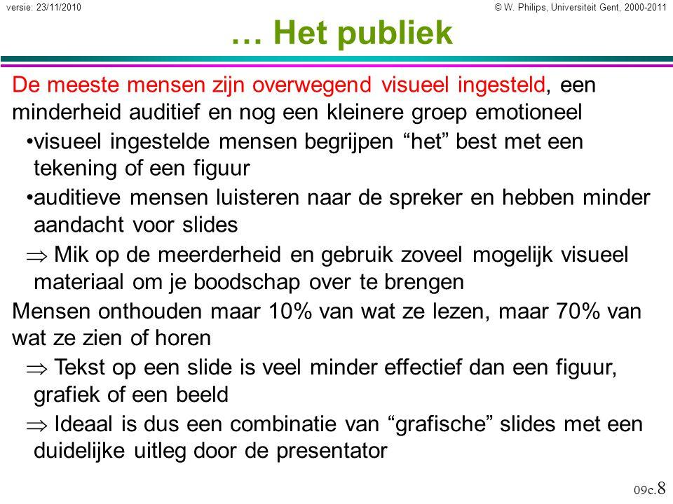 © W. Philips, Universiteit Gent, 2000-2011versie: 23/11/2010 09c. 8 … Het publiek De meeste mensen zijn overwegend visueel ingesteld, een minderheid a