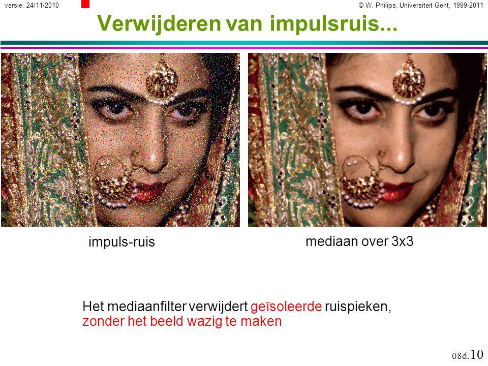 © W. Philips, Universiteit Gent, 1999-2011versie: 24/11/2010 08d. 10 Verwijderen van impulsruis... mediaan over 3x3 Het mediaanfilter verwijdert geïso