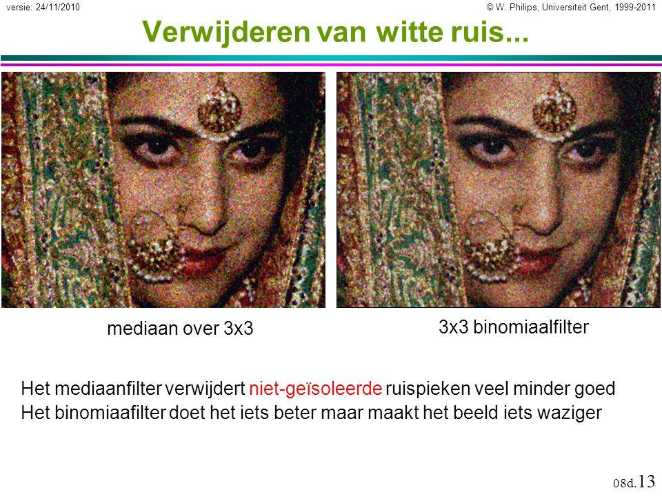 © W. Philips, Universiteit Gent, 1999-2011versie: 24/11/2010 08d. 13 Verwijderen van witte ruis... Het binomiaafilter doet het iets beter maar maakt h