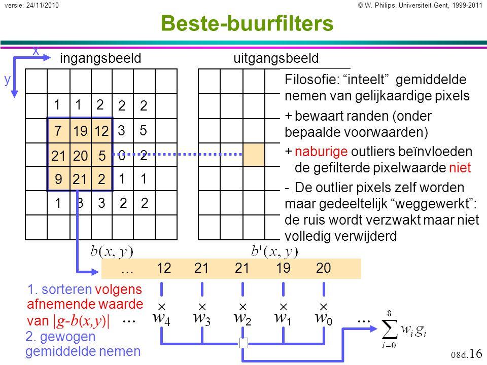 © W. Philips, Universiteit Gent, 1999-2011versie: 24/11/2010 08d. 16 71912 21205 9212 ingangsbeelduitgangsbeeld 35 02 11 112 22 13322 x y 1. sorteren