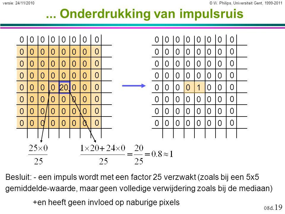 © W. Philips, Universiteit Gent, 1999-2011versie: 24/11/2010 08d. 19... Onderdrukking van impulsruis 10 0000000 0 0000000 0 0000000 0 0000000 0 00000
