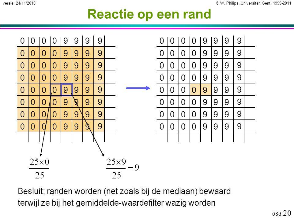 © W. Philips, Universiteit Gent, 1999-2011versie: 24/11/2010 08d. 20 Reactie op een rand 0000999 9 0000999 9 0000999 9 0000999 9 0000999 9 0000999 9 0