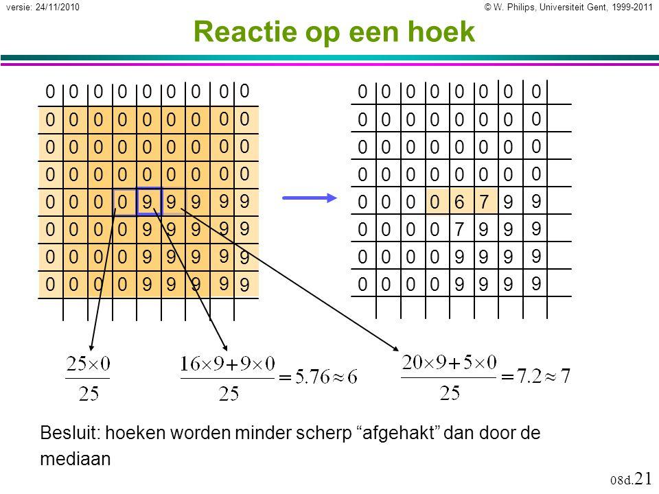 © W. Philips, Universiteit Gent, 1999-2011versie: 24/11/2010 08d. 21 Reactie op een hoek 607 0000000 0 0000000 0 0000000 0 0000000 0 0009 9 0000799 9