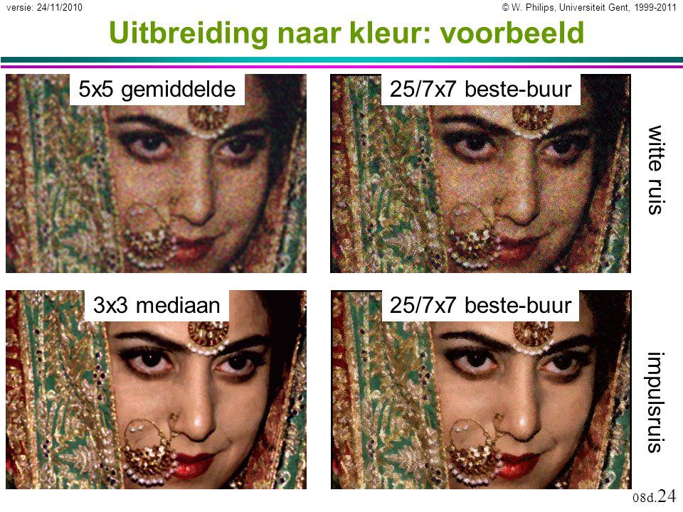 © W. Philips, Universiteit Gent, 1999-2011versie: 24/11/2010 08d. 24 Uitbreiding naar kleur: voorbeeld 25/7x7 beste-buur 3x3 mediaan 5x5 gemiddelde wi