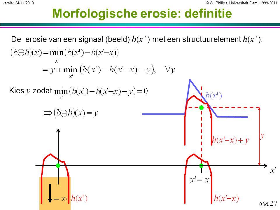 © W. Philips, Universiteit Gent, 1999-2011versie: 24/11/2010 08d. 27 Morfologische erosie: definitie De erosie van een signaal (beeld) b ( x' ) met ee