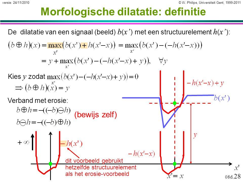 © W. Philips, Universiteit Gent, 1999-2011versie: 24/11/2010 08d. 28 Morfologische dilatatie: definitie dit voorbeeld gebruikt hetzelfde structuurelem