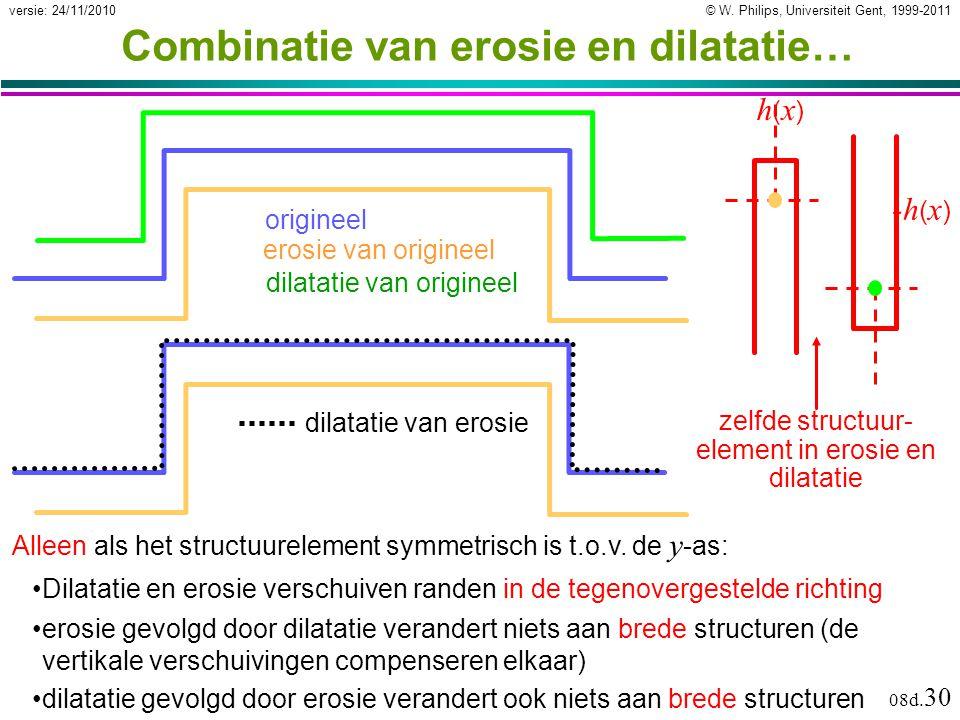 © W. Philips, Universiteit Gent, 1999-2011versie: 24/11/2010 08d. 30 Combinatie van erosie en dilatatie… Dilatatie en erosie verschuiven randen in de
