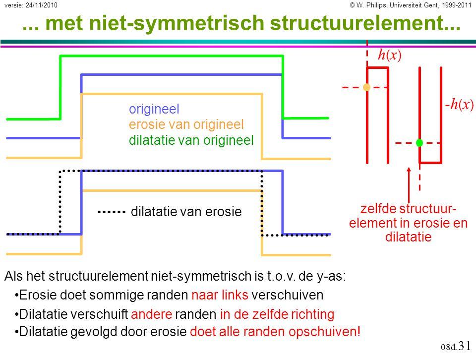 © W. Philips, Universiteit Gent, 1999-2011versie: 24/11/2010 08d. 31... met niet-symmetrisch structuurelement... Als het structuurelement niet-symmetr