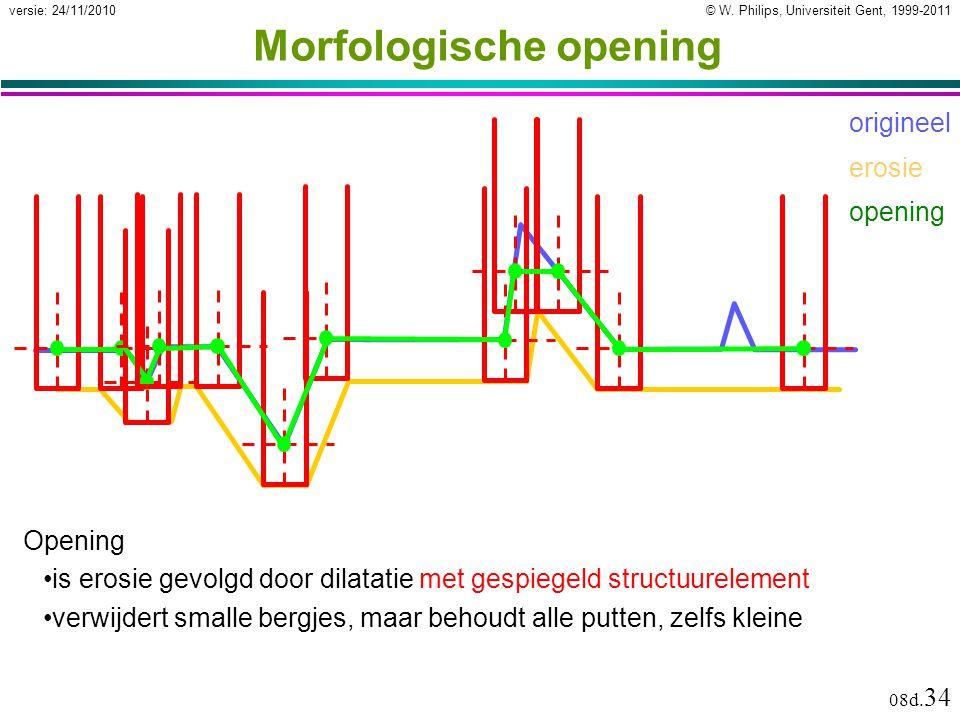 © W. Philips, Universiteit Gent, 1999-2011versie: 24/11/2010 08d. 34 Morfologische opening Opening is erosie gevolgd door dilatatie met gespiegeld str