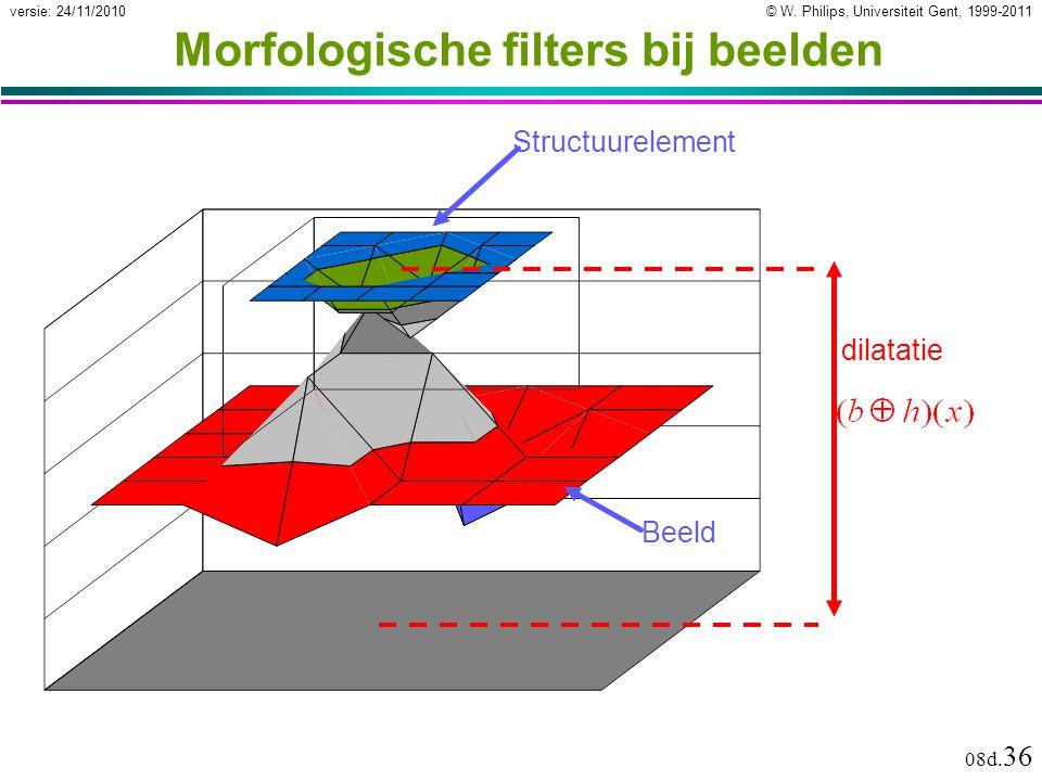 © W. Philips, Universiteit Gent, 1999-2011versie: 24/11/2010 08d. 36 Morfologische filters bij beelden Structuurelement Beeld dilatatie
