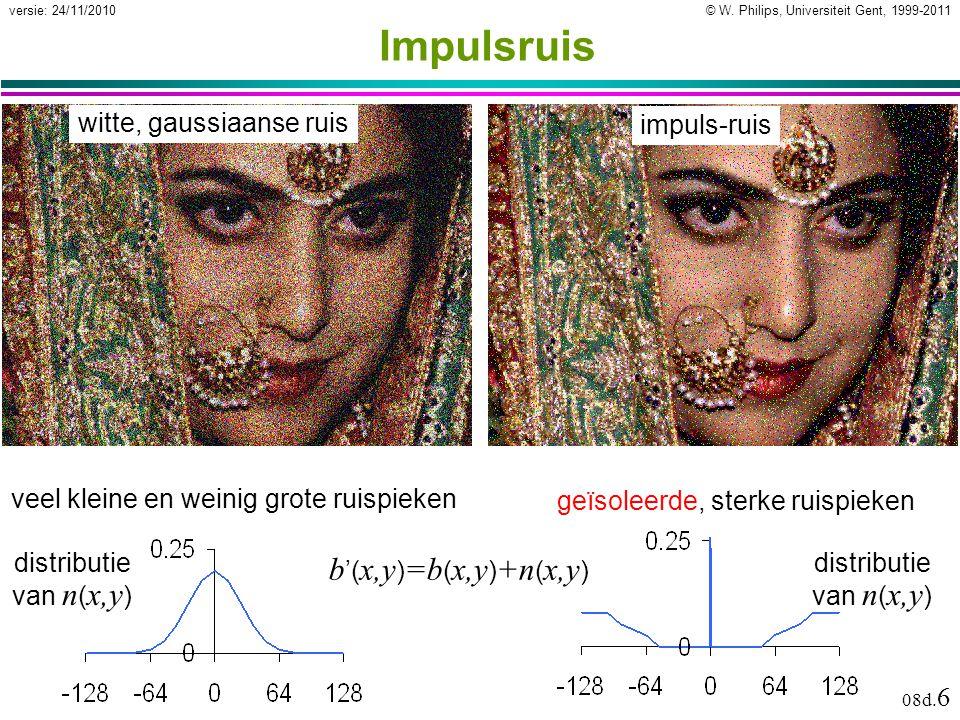 © W. Philips, Universiteit Gent, 1999-2011versie: 24/11/2010 08d. 6 Impulsruis witte, gaussiaanse ruis veel kleine en weinig grote ruispieken impuls-r