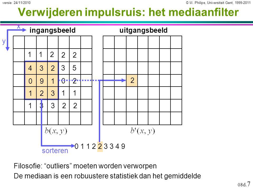 © W. Philips, Universiteit Gent, 1999-2011versie: 24/11/2010 08d. 7 2 432 091 123 ingangsbeelduitgangsbeeld 35 02 11 112 22 13322 x y sorteren 0 1 1 2
