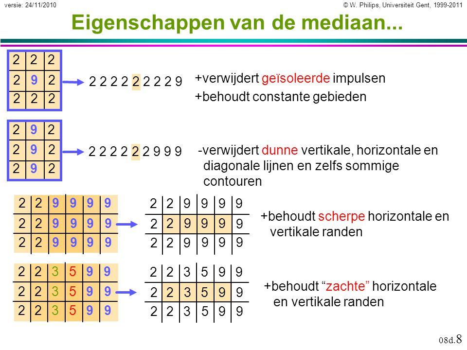 © W. Philips, Universiteit Gent, 1999-2011versie: 24/11/2010 08d. 8 2999 Eigenschappen van de mediaan... 222 292 222 +verwijdert geïsoleerde impulsen