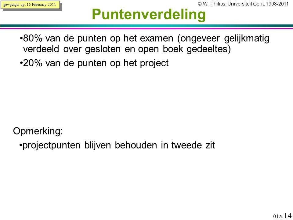 © W. Philips, Universiteit Gent, 1998-2011 versie: 16/2/2011 01a. 14 Puntenverdeling 80% van de punten op het examen (ongeveer gelijkmatig verdeeld ov