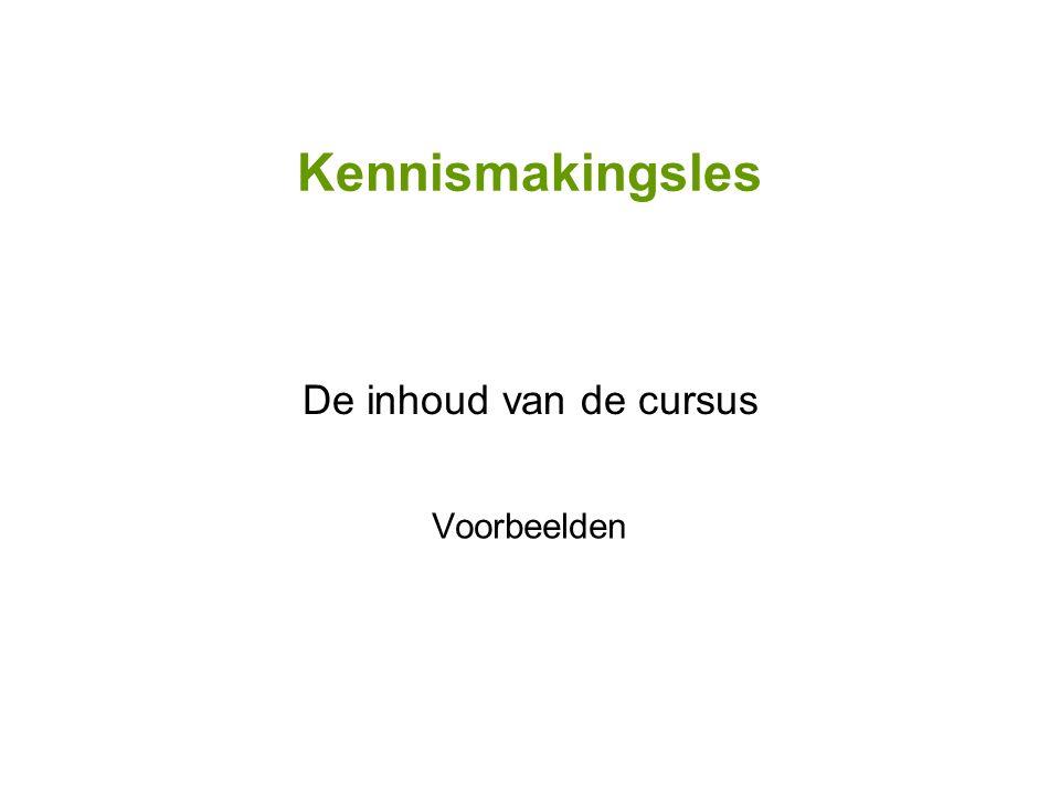 Kennismakingsles De inhoud van de cursus Voorbeelden