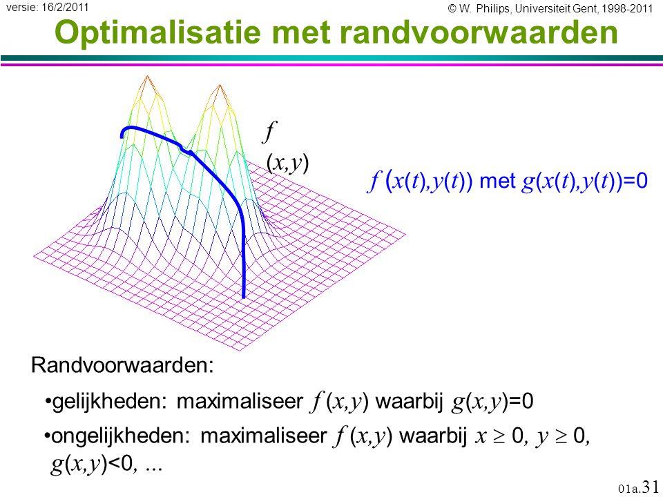 © W. Philips, Universiteit Gent, 1998-2011 versie: 16/2/2011 01a. 31 Optimalisatie met randvoorwaarden Randvoorwaarden: gelijkheden: maximaliseer f (
