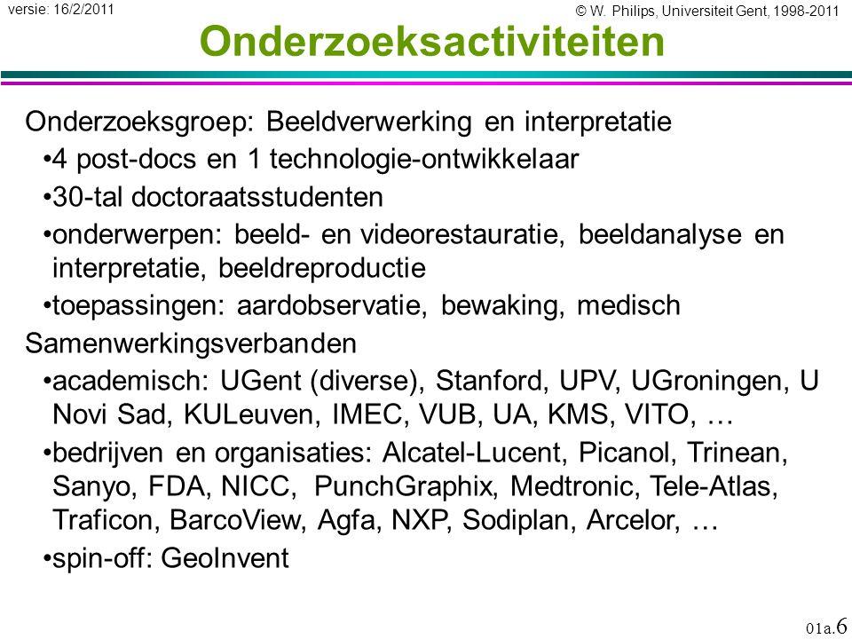 © W. Philips, Universiteit Gent, 1998-2011 versie: 16/2/2011 01a. 6 Onderzoeksactiviteiten Onderzoeksgroep: Beeldverwerking en interpretatie 4 post-do