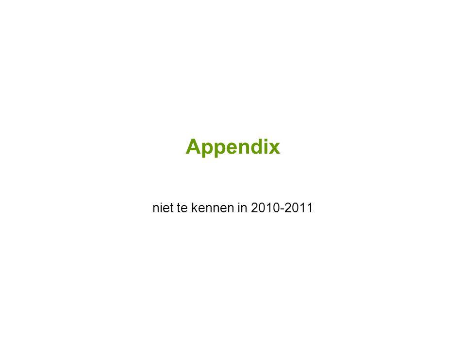 Appendix niet te kennen in 2010-2011